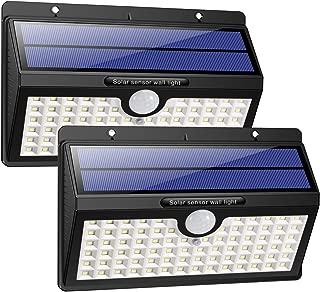 HETP Luz Solar-Foco Solar Exterior LED con Sensor de Movimiento 2000mAh Iluminación de Seguridad 2 Piezas Luces Solares-Lámpara Solar Exterior Inalámbrico Impermeable para Jardín- Garaje- Camino