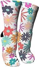 wonzhrui Calcetines de compresión de Calcetines Estampados Coloridos Unisex para la Hora del té Floral - Calcetines Rainbow Crew