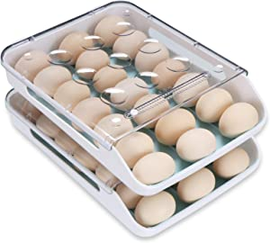 Qmpro Egg Holder Auto Scrolling Down for Refrigerator, Smart Stackable Antislip Deviled Egg Tray Food Container with Lid and Handle,Clear Plastic 21 Eggs Set of 2(Blue Groove)