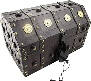 Well Pack Box Treasure Chest Pirate 11x 7x 6 Lock Skeleton Keys Doubloon Accents in Antique Cherry Stain (Small)