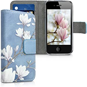kwmobile Case Compatible with Apple iPhone 4 / 4S - Wallet Case PU Leather Flip Cover - Magnolias Taupe/White/Blue Grey