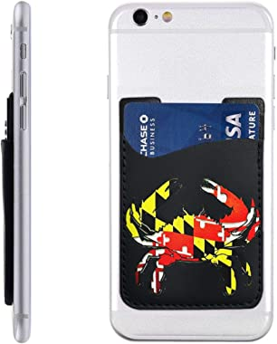 Art Maryland Flag Crab PU Leather Business Id Card Package RFID Credit Card Holder Clip Sleeve Wallet for Vehicle Car Luggage Door iPhone Samsung Huawei Cell Phone Case