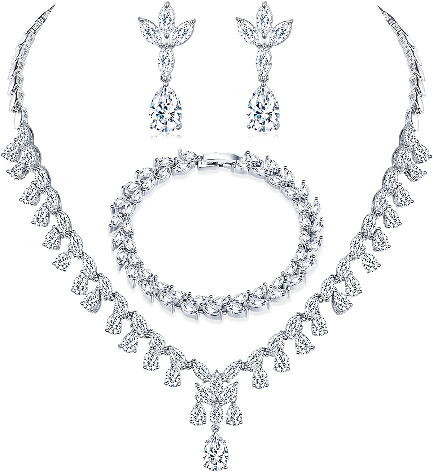 Cubic Zirconia Rhinestones Wedding Jewelry for Bride|White Gold Plated Bridesmaid Jewelry Set for Wedding|Necklace Earrings Tennis Bracelets for Women Bride Bridesmaid on Wedding Important Occasions