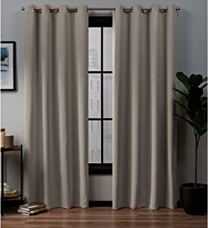 Exclusive Home Curtains Academy Total Blackout Grommet Top Panel Pair, Vintage Linen, 52x96, 2 Piece