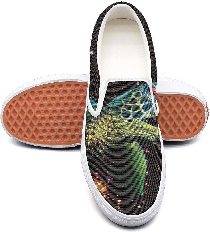 RegiDreae Canvas Slip on Sneakers for Women Space Panda Turtle Sloth Pig Fashion Sneaker