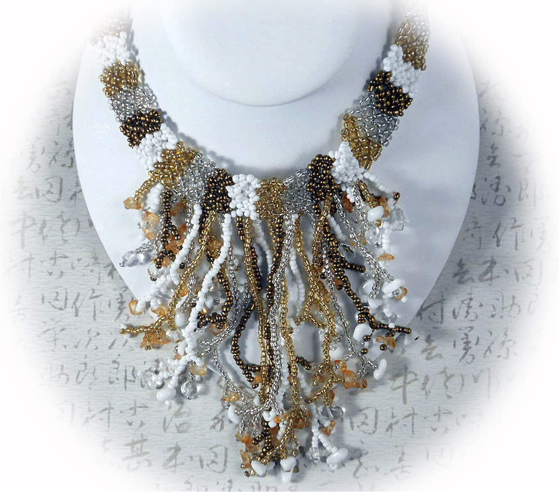 New Fringe Collar Necklace Gold White Glass & Gemstone Chips Beaded Bali Beads GL0464BB