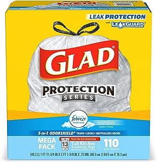 Glad Tall Kitchen Drawstring Trash Bags - OdorShield 13 Gallon White Trash Bag, Febreze Fresh Clean - 110 Count