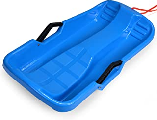 AGPTEK 25 Inch Winter Durable Plastic Snow Sled in Boat Shape for Child Outdoor Pulling Snow Board with Brake Handle (Blue)