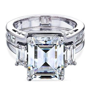 Kobelli 6 Carat TW 3-Stone Emerald Moissanite Bridal Set