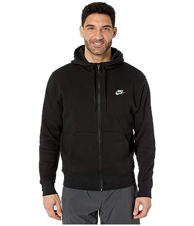 Nike NSW Club Hoodie Full Zip (Black/Black/White) Men