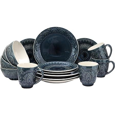 Elama Decorated Round Stoneware Deep Embossed Dinnerware Dish Set, 16 Piece, Dark Navy Blue
