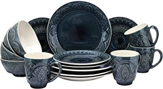 Elama Petra Decorated Round Stoneware Deep Embossed Dinnerware Dish Set, 16 Piece, Dark Navy Blue