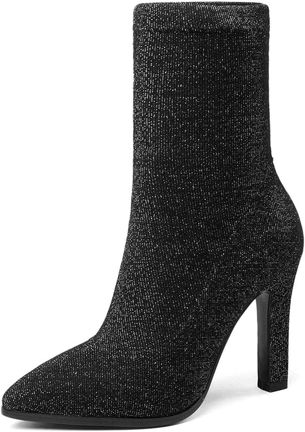 Wetkiss Sexy Women's Stretch Ankle Bootie high Heels Pointy Toe Socks Boots shoes Woman