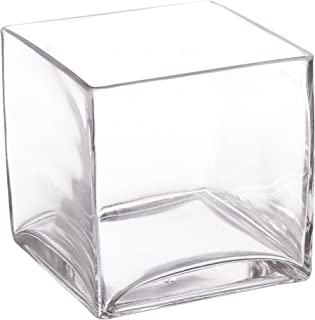 WGV Clear Square Cube Glass Vase/Votive Candle Holder, 5-Inch