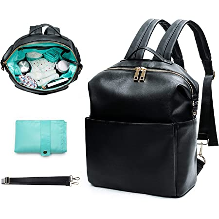 Diaper Bag Backpack Mominside, Leather Baby Bag backpack for mom Multi-Function Travel Backpack with Insulated Pockets, Changing Station, Baby Registry Search, Black