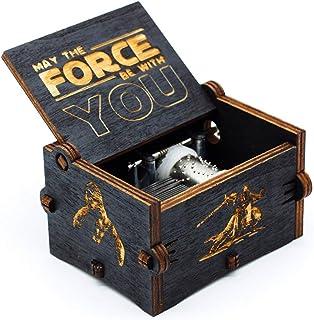 Caja de música de Star Wars de madera negra, caja de madera tallada a mano de madera tallada antigua artesanía de decoración del hogar para niños regalos