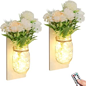 Mason Jar Sconces Wall Decor with Remote Timer LED Lights Hanging Hydrangea Bouquet Wall Lights Decor, Rustic Mason Jar Wall Sconces for Farmhouse Living Room Wall Home Decor Set of 2 (White)