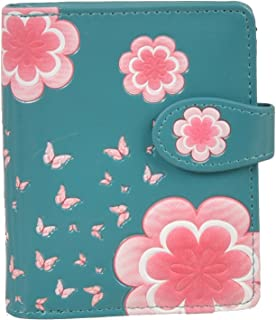 Shag Wear Women`s Small Zipper Wallet Summer Butterflies Teal