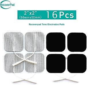 RecoverPad 16pcs 50x50mm Profesional TENS Electrodos,3rd Gel japonés Sin látex Electrodos(CE/FDA Aprobado),Mejor desempeño autoadherente para electroestimuladores TENS EMS
