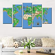 Chihie Modular HD Print Wall Art Picture Home Decor Living Room 5 Piece Super Mario Game World Map Painting Poster Canvas 20x35cmx2 20x45cmx2 20x55cmx1 Sin Marco