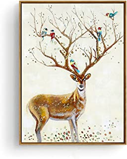 Hepix Chirstmas Artwork Canvas Wall Art Cute Deers Pattern Print Wall Paintings Wood Framed Wall Decor for Living Room Office Modern Home Decor Ready to Hang 13 by 17 inch
