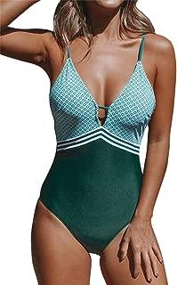 CUPSHE Women's Peacock Green Plunging One Piece Swimsuit Adjustable Swimwear