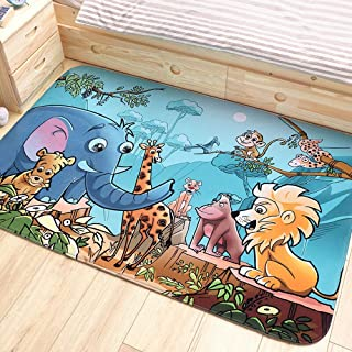 LOUUG Super Large Baby Happy Cartoon Dinosaur Background Rugs Creeping Crawling Mat Sleeping Rugs Playroom Blanket Safe Kids Durable Carpet Early Educational Rectangle Toddler Adventure Activity Pad