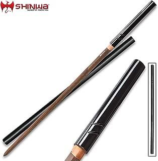 Shinwa SilkFang Handmade Shirasaya/Samurai Sword - Double-Edged Blade; Exclusive, Hand Forged Black Damascus Steel; Hand Lacquered Hardwood - Sleek Ninja Stealth, Functional, Battle Ready, Full Tang