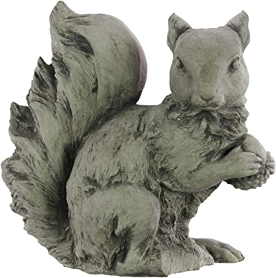 Urban Trends 51204 Cement Sitting Squirrel Figurine with Head Turned Sidewards and Hands Crossed Concrete Finish Gray