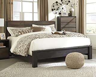 Signature Design Windlore Dark Brown Wood King Panel Bed by Ashley