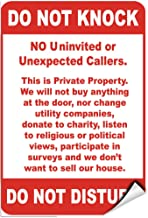 Do Not Knock No Uninvited Or Unexpected Callers Label Decal Sticker 5 inches x 7 inches