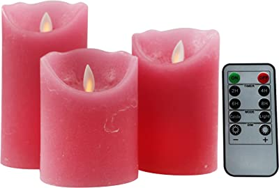 Kitch Aroma Pink Flameless Candles Battery Operated with Moving Flame Wick Flickering LED Pillar Candle for Deco