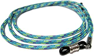 ATLanyards Blue with Green & Purple Holder for Glasses, Eyeglass Cord, Black Grips 332