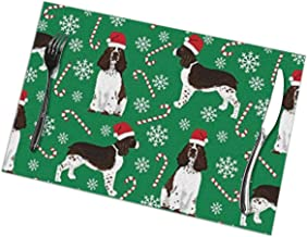VDGTRTSX English Springer Spaniel Santa Christmas Funny Place Mat Placemats Set of 6 Table Mats Cloth Washable Heat-resistand Polyester 12 X 18 Inch for Kitchen Dining Restaurant Dinner