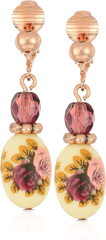 1928 Jewelry Women's Rose Gold Tone Purple Crystal Bead Flower Drop Clip Earrings, Purple, One Size