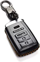 Vitodeco Genuine Leather Smart Key Keyless Remote Entry Fob Case Cover with Key Chain for ACURA RLX, ACURA TLX, ACURA ILX (4 Buttons, Black)