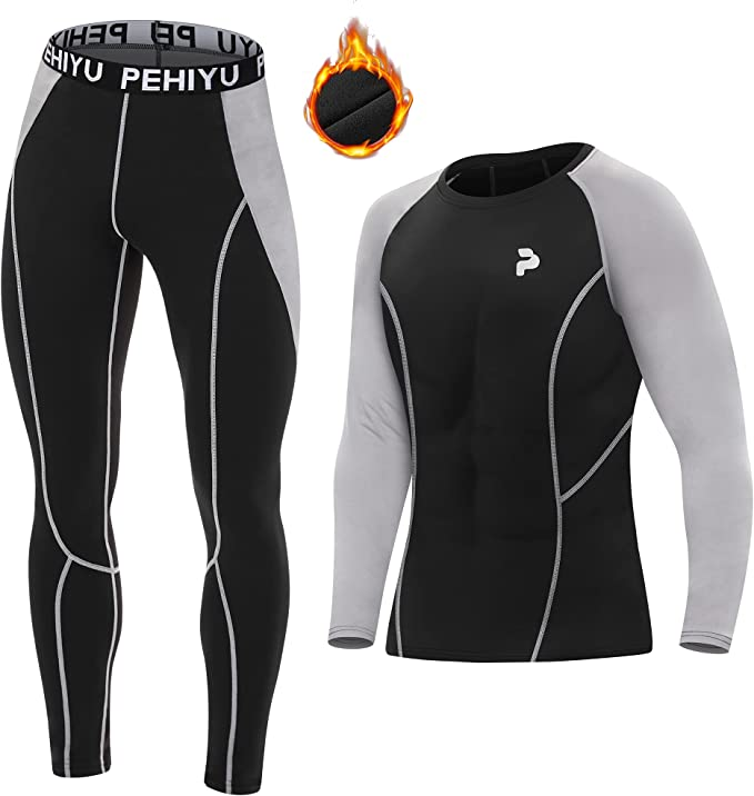 Men's Thermal Underwear Fleece-Lined Fitness Compression Pants and Tactical Sports Long Sleeve Warming Shaping Set