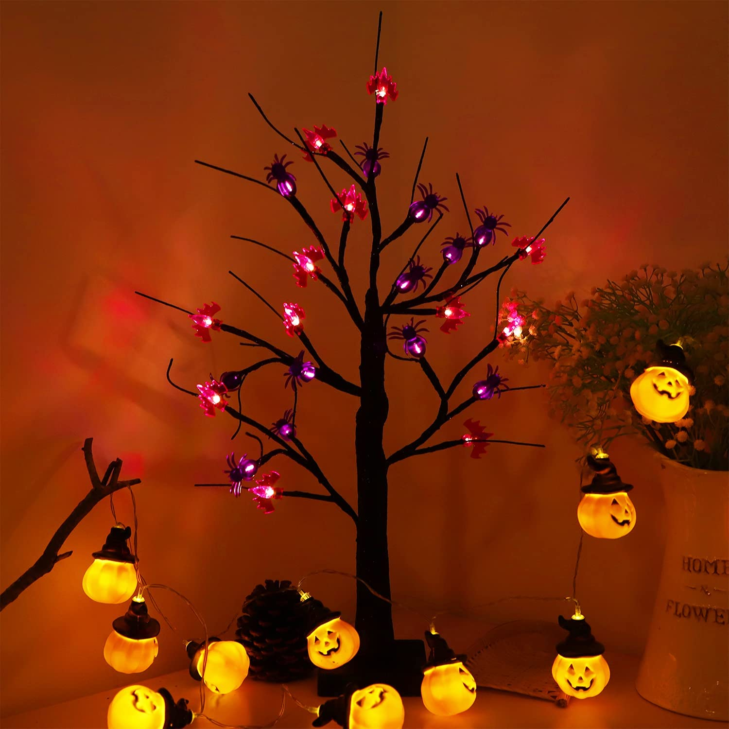 Malgero Halloween Decoration Black Tree Lamp 2FT Battery Powered with 24 LED Lights and 30 DIY Spiders/Bats Light Up Birch Gothic Home Decor Indoor Tabletop Lamp Spooky Bonsai Night Light