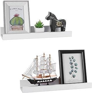 GEEZY - Juego de 2 estantes de pared flotantes (45 x 10 x 5 cm) color blanco