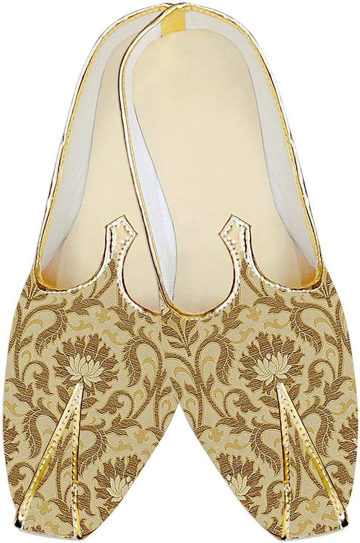 INMONARCH Mens golden Kheenkhap Wedding shoes Designer Flower MJ18309