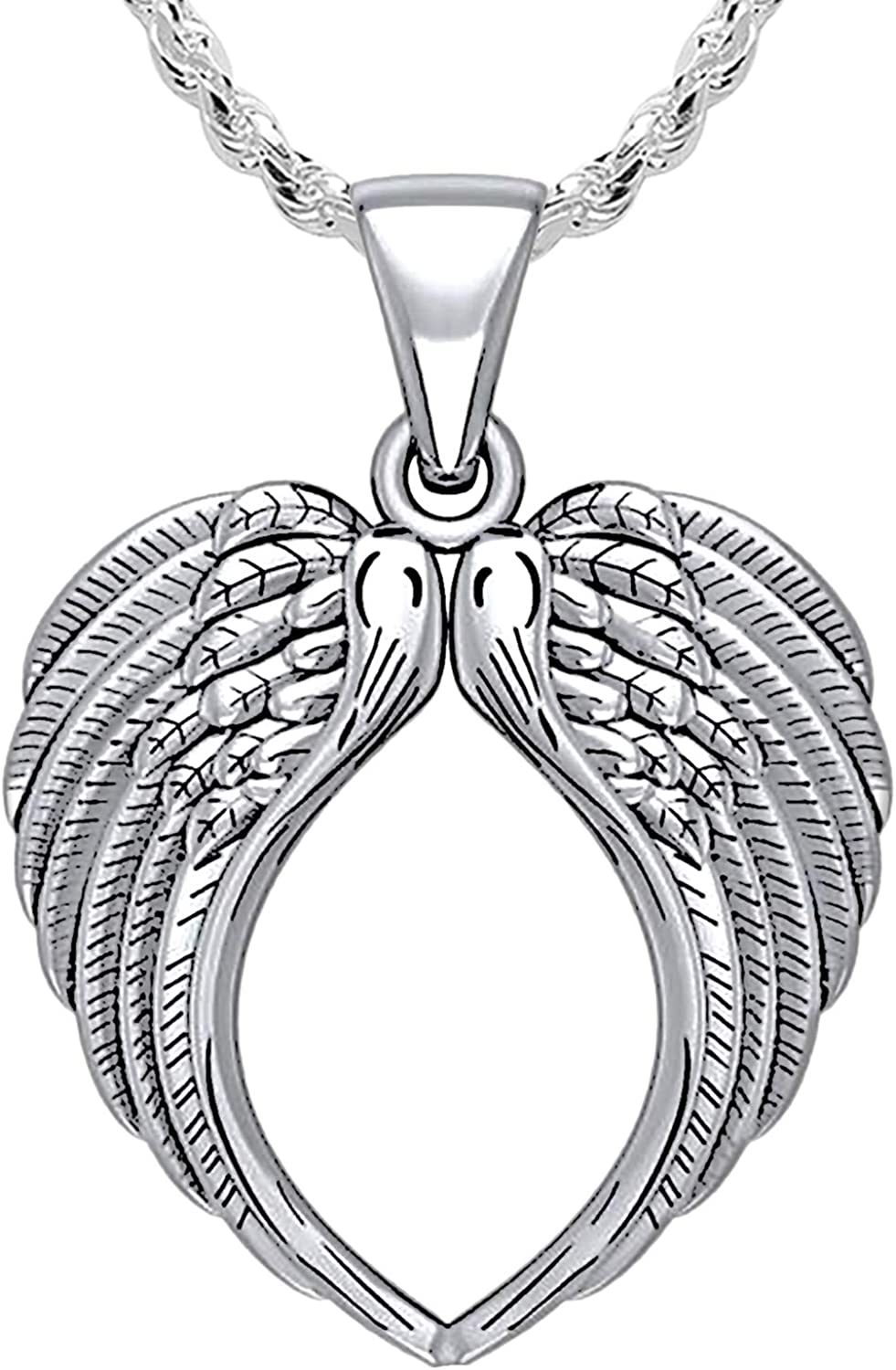US Jewels Long Beach Mall Luxury goods Ladies 925 Sterling Angel Wing Silver Polished Finish