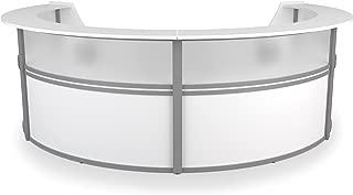 OFM Marque Series Plexi Single-Unit Curved Reception Station - Office Furniture Receptionist/Secretary Desk, White (55310-WHITE)