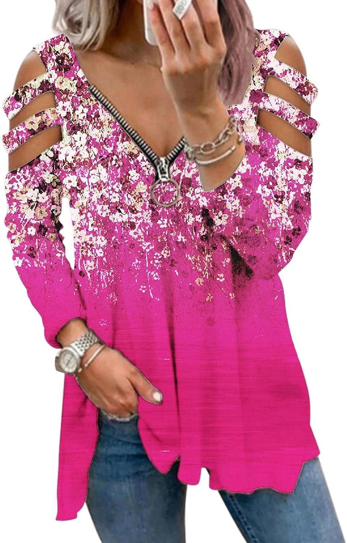 POLLYANNA KEONG Womens Long Sleeve Tops,Womens Casual V Neck Sweatshirts Cold Shoulder Blouse Flower Print Zip Up Shirts