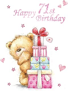 Happy 71st Birthday: Notebook, Journal, Dairy, 185 Lined Pages, Cute Teddy Bear Themed Birthday Gifts for 71 Year Old Men or Women, Brother or Sister, ... Grandma, Best Friend, Book Size 8 1/2