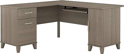 Bush Furniture Somerset L Shaped Desk with Storage, 60W, Ash Gray