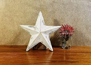 Rustic Wood Star White Christmas Tree Topper