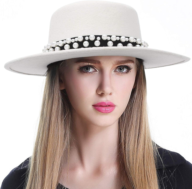 GEMVIE Women 100% Wool Flat Top Ha Band Limited time Max 57% OFF trial price Elegant Fedora Hat Pearl