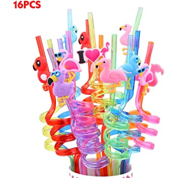 Jellydog Toy Flamingo Party Favors, 16 PCS Reusable Straws, Flamingo Drinking Plastic Straws,Flamingo Party Supplies,Party Decorations for Kids Girls