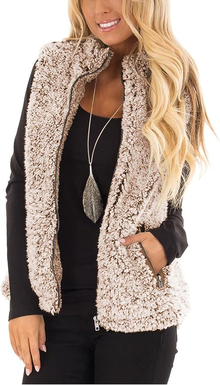 MEROKEETY Women's Casual Sherpa Fleece Warm Fall Lightweight Zip Oakland Mall Branded goods