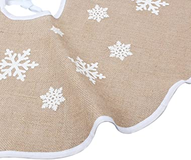 Aytai Christmas Tree Skirt 48 Inch Rustic Tree Skirts White Snowflake Printed Christmas Decorations Indoor Outdoor